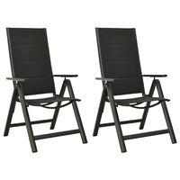 vidaXL Skládací zahradní židle 2 ks textilen a hliník černé