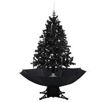 vidaXL Sněžící vánoční stromek s deštníkovým stojanem černý 140 cm PVC