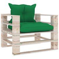 vidaXL Zahradní pohovka z palet se zelenými poduškami borové dřevo