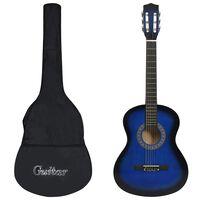 vidaXL 8dílný set klasická kytara pro děti, začátečníky modrá 3/4 36''
