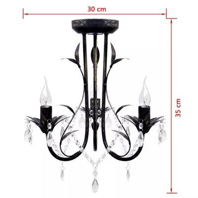 Secesní černý kovový lustr s křišťálovými ověsky, pro 3 žárovky E14