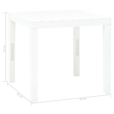 vidaXL Zahradní stůl bílý 78 x 78 x 72 cm plast