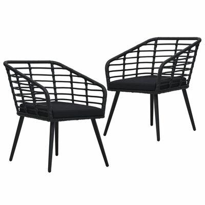 vidaXL Zahradní židle s poduškami 2 ks polyratan černé