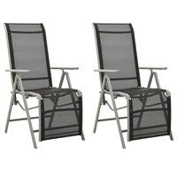 vidaXL Polohovací zahradní židle 2 ks textilen a hliník stříbrné