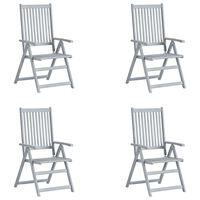 vidaXL Zahradní polohovací židle 4 ks šedé masivní akáciové dřevo
