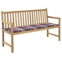 vidaXL Zahradní lavice + červená károvaná poduška 150 cm masivní teak