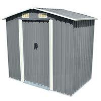 vidaXL Zahradní domek na nářadí šedý kovový 204x132x186 cm