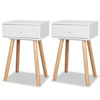 vidaXL Noční stolek 2 ks masivní borovice 40 x 30 x 61 cm bílý