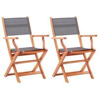 vidaXL Skládací zahradní židle 2ks šedé masivní eukalyptus a textilen