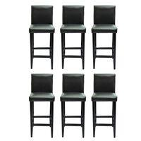 vidaXL Barové stoličky 6 ks černé umělá kůže