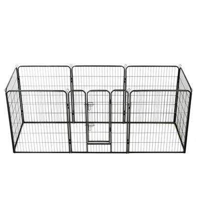 vidaXL Ohrádka pro psy 8 panelů ocelová 80 x 100 cm černá