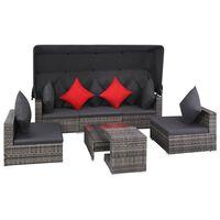 vidaXL 7dílná zahradní sedací souprava s poduškami polyratan šedá