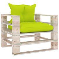 vidaXL Zahradní pohovka z palet jasně zelené podušky borové dřevo