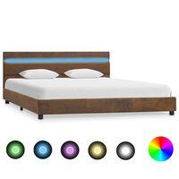 vidaXL Rám postele s LED světlem hnědý textil 160 x 200 cm