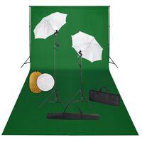 vidaXL Foto studio set se světly, deštníky, pozadím a odraznou deskou