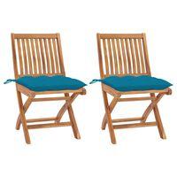 vidaXL Zahradní židle 2 ks světle modré podušky masivní teak