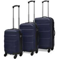 vidaXL Sada tří skořepinových kufrů na kolečkách, modrá