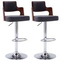 vidaXL Barové stoličky 2 ks tmavě šedé ohýbané dřevo a textil