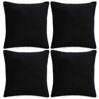 vidaXL Povlaky na polštář 4 ks velur, 80 x 80 cm, černé