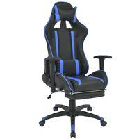 vidaXL Polohovatelné kancelářské / herní křeslo s podnožkou, modrá