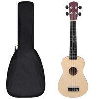 """vidaXL Set soprano ukulele s obalem pro děti světlé dřevo 23"""""""