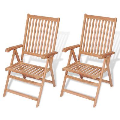 vidaXL Polohovatelné zahradní židle 2 ks masivní teak,