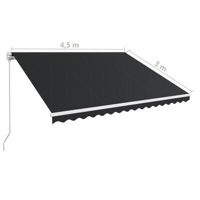 vidaXL Ručně zatahovací markýza 450 x 300 cm antracitová