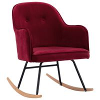 vidaXL Rocking Chair Wine Red Velvet