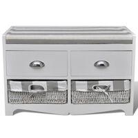 Vchodová bílá skladovací lavice s polštářem
