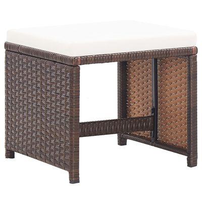 vidaXL Zahradní stoličky s poduškami 2 ks polyratan hnědé