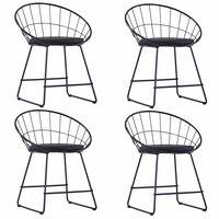 vidaXL Jídelní židle se sedáky z umělé kůže 4 ks černé ocelové