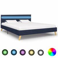 vidaXL Rám postele s LED světlem modrý textil 160 x 200 cm