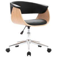 vidaXL Otočná kancelářská židle černá ohýbané dřevo a umělá kůže