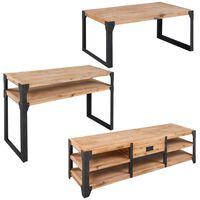 vidaXL 3ks set nábytku do obývacího pokoje, masivní akáciové dřevo