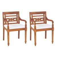 vidaXL Židle Batavie 2 ks s poduškami masivní teak