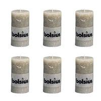 Bolsius Rustikální válcové svíčky 130 x 68 mm břidlicové 6 ks