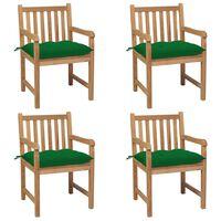 vidaXL Zahradní židle 4 ks zelené podušky masivní teak