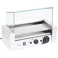 vidaXL Hot Dog 5 Roller Grilling Machine with Glass Cover 1000 W