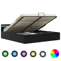 vidaXL Rám postele s LED úložný prostor černý umělá kůže 160 x 200 cm