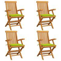 vidaXL Zahradní židle s jasně zelenými poduškami 4 ks masivní teak