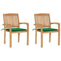 vidaXL Zahradní židle 2 ks zelené podušky masivní teakové dřevo