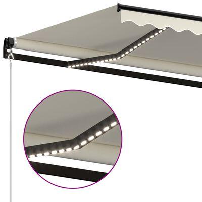 vidaXL Ručně zatahovací markýza s LED světlem 500 x 300 cm krémová