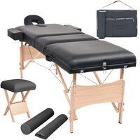 vidaXL 3zónový skládací masážní stůl a stolička tloušťka 10 cm černé