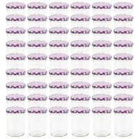 vidaXL Zavařovací sklenice s fialovobílými víčky 48 ks 400 ml