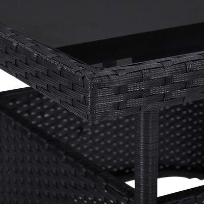 vidaXL 5dílný zahradní jídelní set černý polyratan a sklo