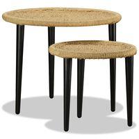 vidaXL Konferenční stolek set 2 ks přírodní juta