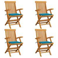 vidaXL Zahradní židle s modrými poduškami 4 ks masivní teak