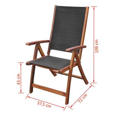 vidaXL Skládací zahradní židle 2 ks masivní akácie a textilen