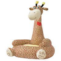 vidaXL Plyšové dětské křeslo žirafa hnědá