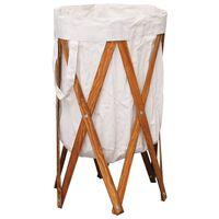vidaXL Skládací koš na prádlo krémový dřevo a textil